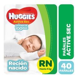 Pa?ales Huggies Active Sec P Y Recien Nacido X 40