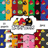 Kit Imprimible Pack Fondos Angry Birds 10 Clipart
