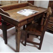 Escrivaninha Pé Luis Xv Em Madeira De Demolição Peroba Rosa