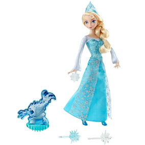 Boneca Princesas Disney Frozen Elsa Com Luzes Mattel