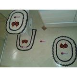 Jogo Banheiro Tapete Tampa Vaso Porta Papel Crochê 4 Peças
