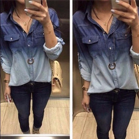 Camisa Jeans Degrade Feminina