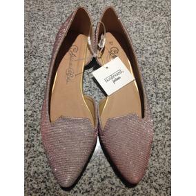 Zapatos Balerina Chatita Mujer Cuero Ecológico Glitter