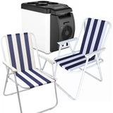 Pack Refrigerador Cooler Para Auto 6 Litros + 2 Sillas Playa