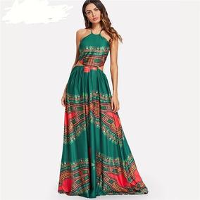 Vestido Étnico Cetim Longo Festas Madrinha Casamento