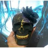 Caveira Mexicana Black - Dourado - Flor - Cranio Mexicano