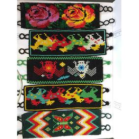 Arte Huichol Pulseras Diseño Con Canutillo Y Chaquira.