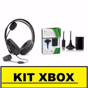 Kit Xbox360 C/ Bateria 30.000mah+ Fone Headset+12 X S/juros