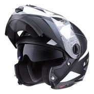 Casco Moto Ls2 Rebatible 370 Stripe Negro Blanco Doble Visor
