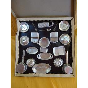 Antiguo Juguete Bateria De Cocina En Aluminio Germany 0800