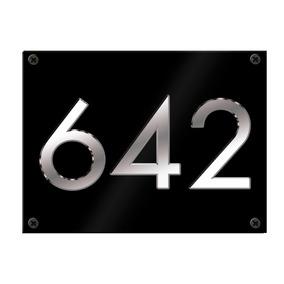 Placa De Dirección Chapa Numeración Metal Plateado Givan