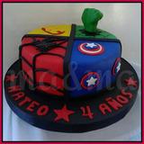 Torta Superheroes Hombre Araña, Hulk, Iron Man Y Cap America