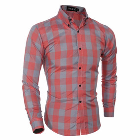 Camisa Casual Elegante Plaid Slim Fit Shirt Entrega Inmediat