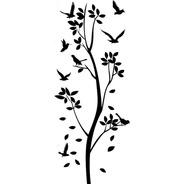 Adesivo De Parede - Pássaros Nas Folhas Árvore Borboletas