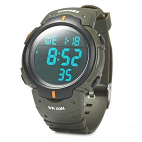 Relógio Pulso Militar Mergulho 50m Digital Led Masculino