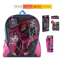 Kit Mochila G Costas, Relógio, Material Escolar Monster High