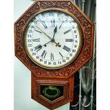 Antiguo Reloj De Pared Ansonia Clock Co. New York Tallado