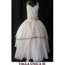 Vestido Nuevos De Primera Comunión Blanco Con Dorado