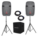 Kit Subwoofer 18 Bi Amplificado 2 Bafles Bocina 15 Audiobahn