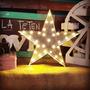 Estrella Letras Vintage Luces Led Navidad Deco Chapa Retro