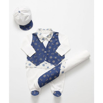 Saída Maternidade Menino Branco C/ Azul - Marinheiro 3 Peças
