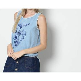Blusa Jeans My Favorite Things Barato/promoção Azul Claro-p