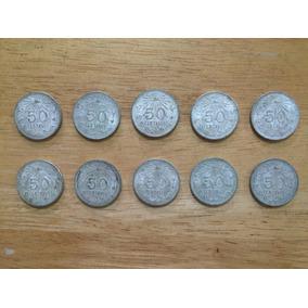 Set 10 Monedas De Plata De 1945 De 50 Centavos Ley 0.720