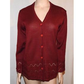 Saquito Sweater De Hilo Bordó