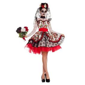 Disfraz Mujer Novia Catrina Dia De Muertos Calavera Sugar