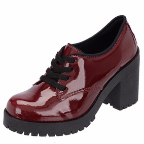 Sapato Oxford Cano Curto Salto Grosso Tratorado Verniz