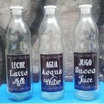 Botella De Vidrio 1 Litro Agua Jugo Leche - Tapa Antiderrame