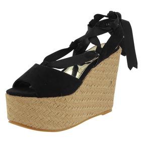 Sandalia De Cuña Negro Dama Mujer Calzado Dorothy Gaynor