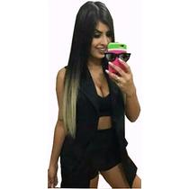 Conjunto Blazer Short Cropped Roupa Feminina Blogueiras