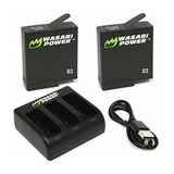 2 Baterías Y Cargador De 3 Wasabi Power Gopro Hero 5 Black