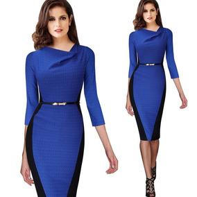 Vestido Elastizado Azul Y Negro