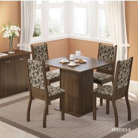 Conjunto Sala Jantar Madesa Mesa E 4 Cadeiras Joyce Ma Cj