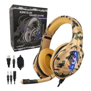 Auriculares Gamer West Camuflado Microfono Led Ps4 Xbox Pc