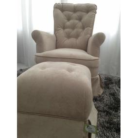 Poltrona Cadeira De Amamentação Com Balanço Mais Puff