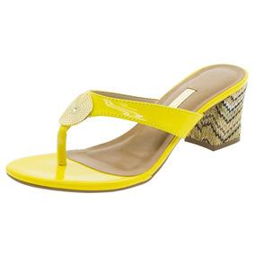 Tamanco Feminino Salto Médio Amarelo Via Marte - 1617552