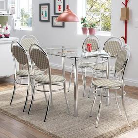 Conjunto De Mesa Carraro 265 + 6 Cadeiras 190 - Cromado / Re