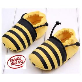 Zapato Bebes Mod Abejita 0-6 Meses Suela Blanda Tela 11cm