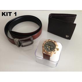 d0f4055b7b0 Relógio Masculino + Carteira Couro Legítimo + Cinto Combo