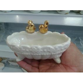Saboneteira Banheira Com Passarinho De Porcelana Alto Luxo