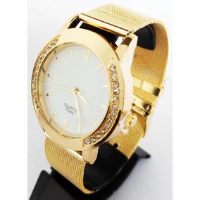 Relógio Barato Dourado Feminino Confortável Quartz