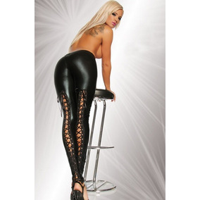 Pantalones Cuero Humedo Tiras Lace Up Sexy Leggins Punk Rock