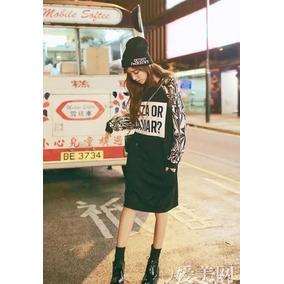 Sudadera Larga, Tipo Vestido, Pizza Or Caviar, Moda Coreana