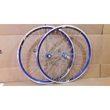 Par De Rodas Bicicleta Aero Cor Azul Aro 26 C/rolamento