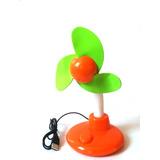 Mini Ventilador Portatil Usb Ou Pilha Laranja