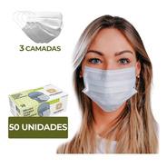 Máscara Descartável Tripla C/ Clipe Nasal Descarpack 50 Unid