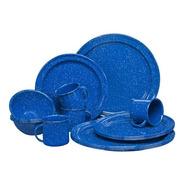 Vajilla De Peltre 16 Piezas Color Azul Bateria Clásica Cinsa